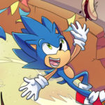 Sonic skidding and smiling